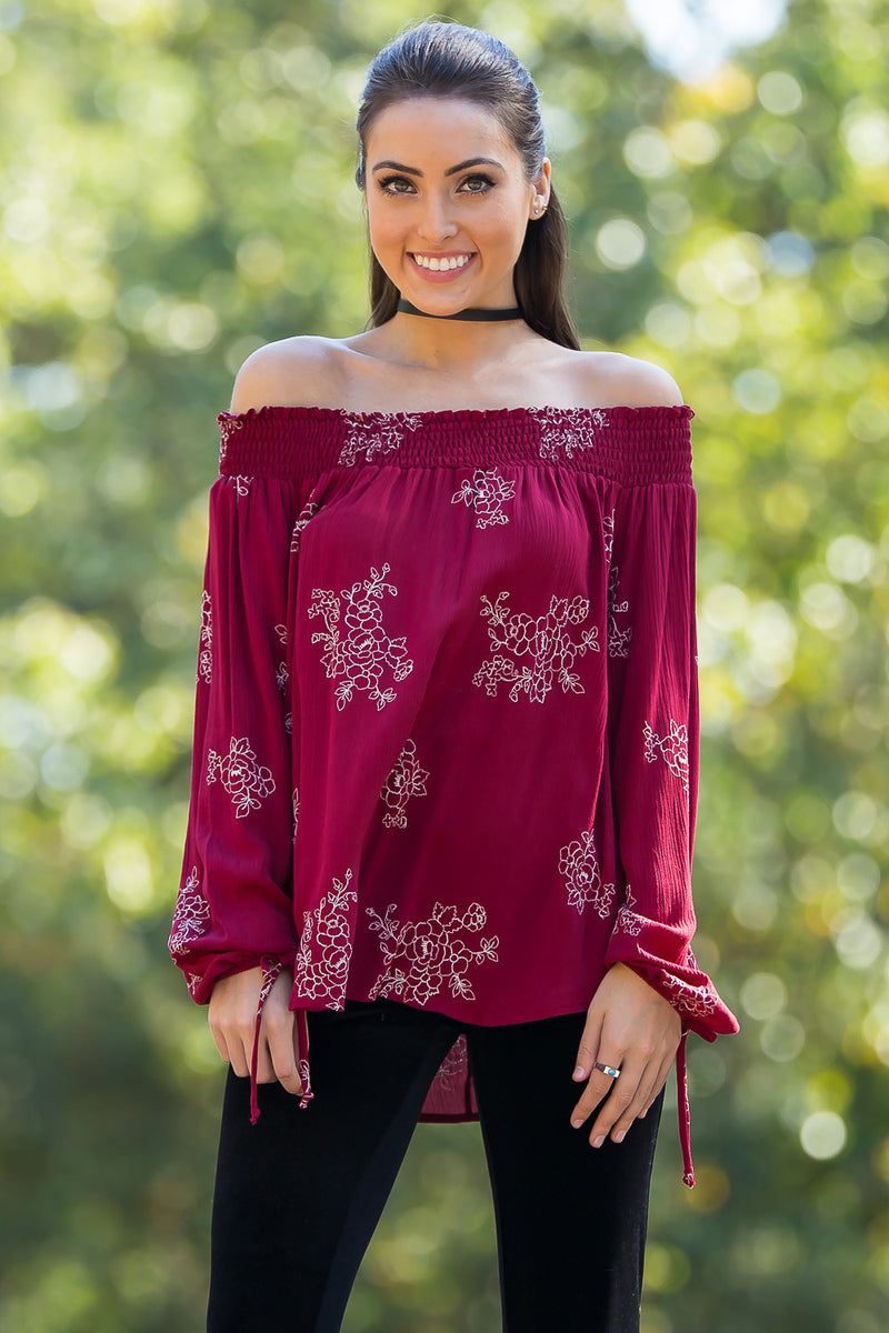 Embroidered For You Top-Wine