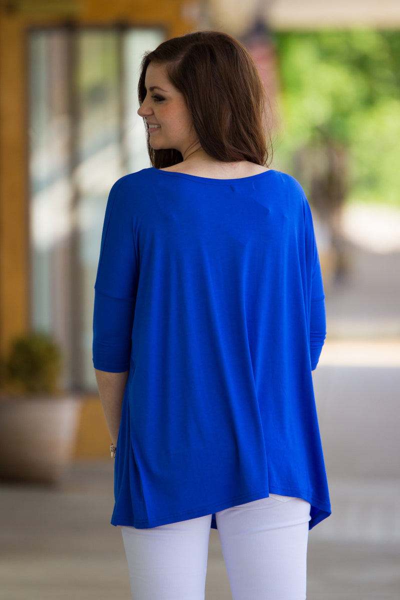The Perfect Piko 3/4 Sleeve Top-Royal Blue