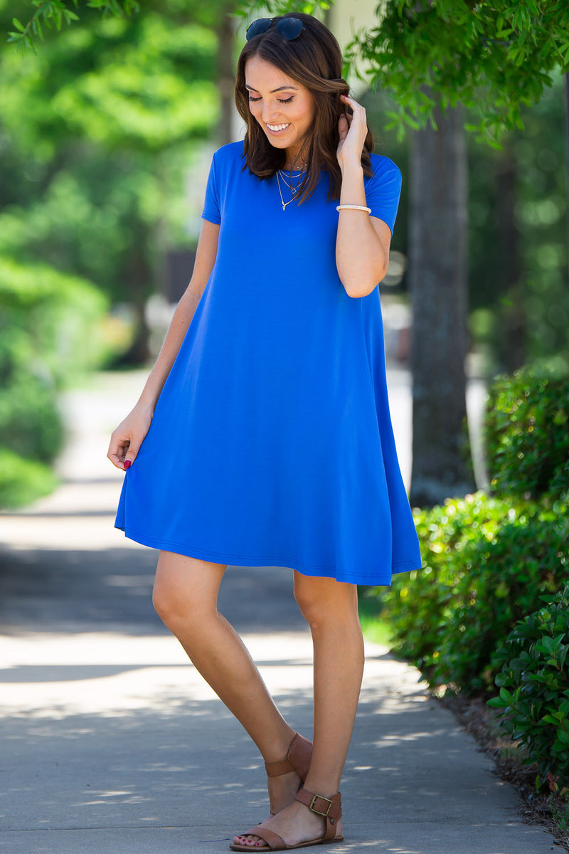 The Perfect Piko Short Sleeve Swing Dress-Royal
