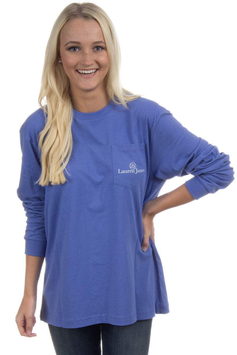 SALE- Lauren James-Love And Football Long Sleeve Top-Violet