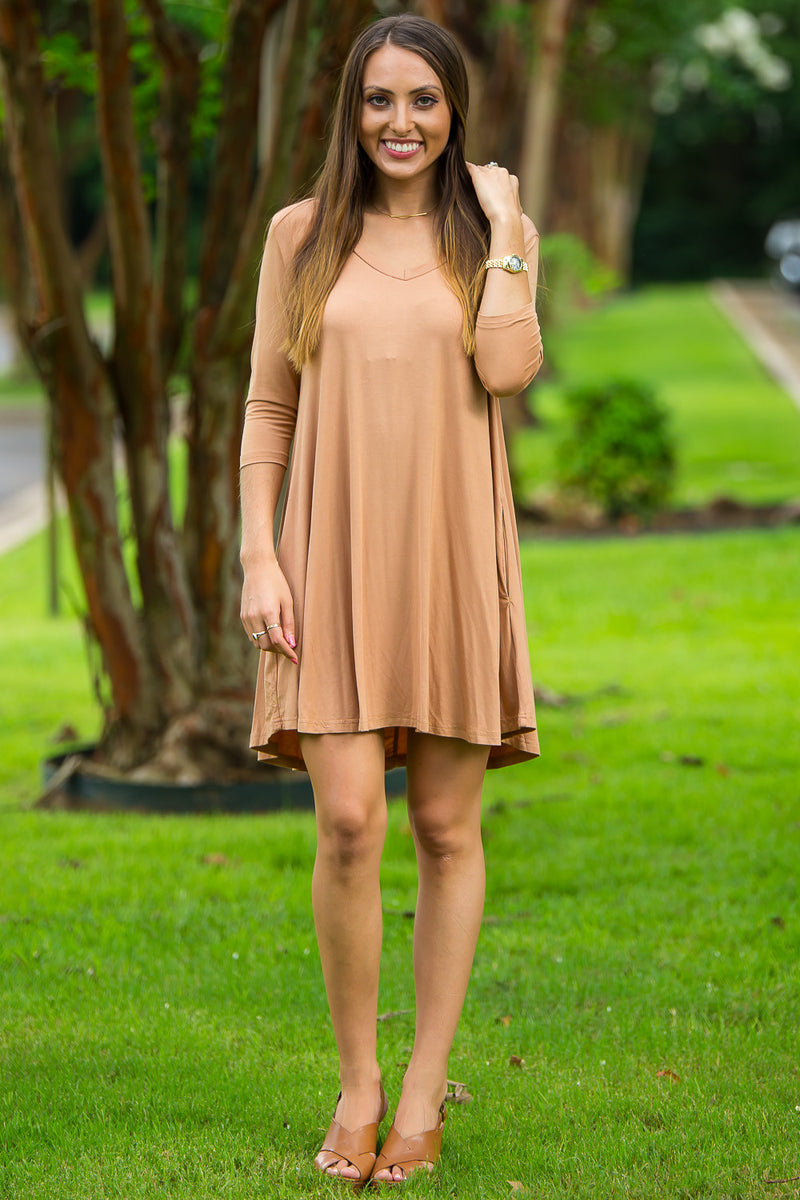 The Perfect Piko 3/4 Sleeve V-Neck Swing Dress-Iced Coffee