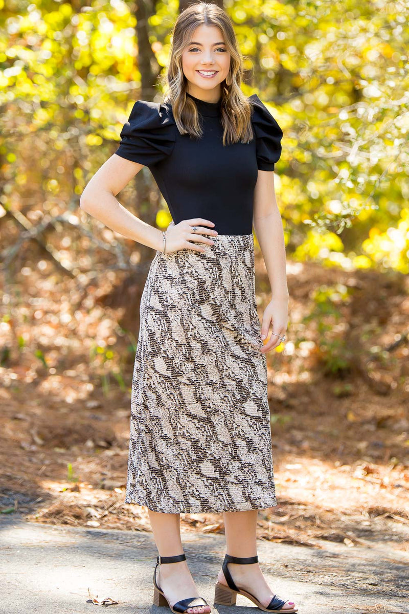 Bias Midi Skirt - Nude/Brown
