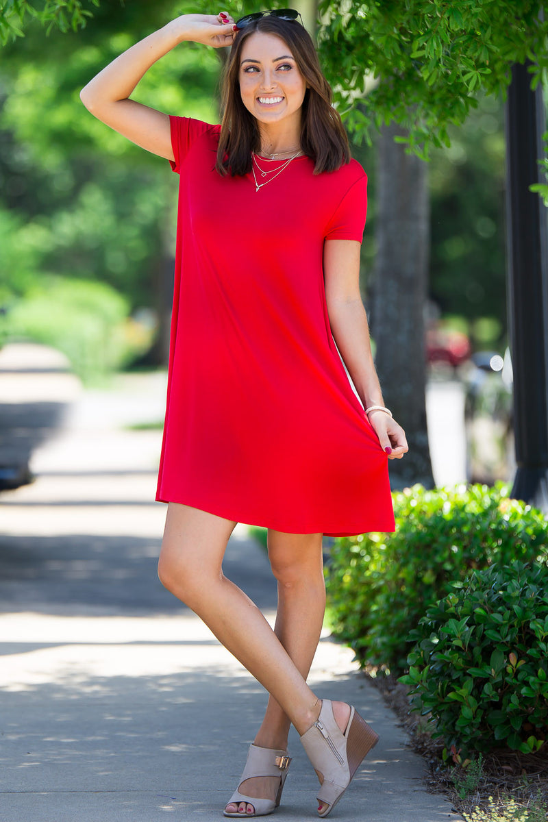 The Perfect Piko Short Sleeve Swing Dress-Red