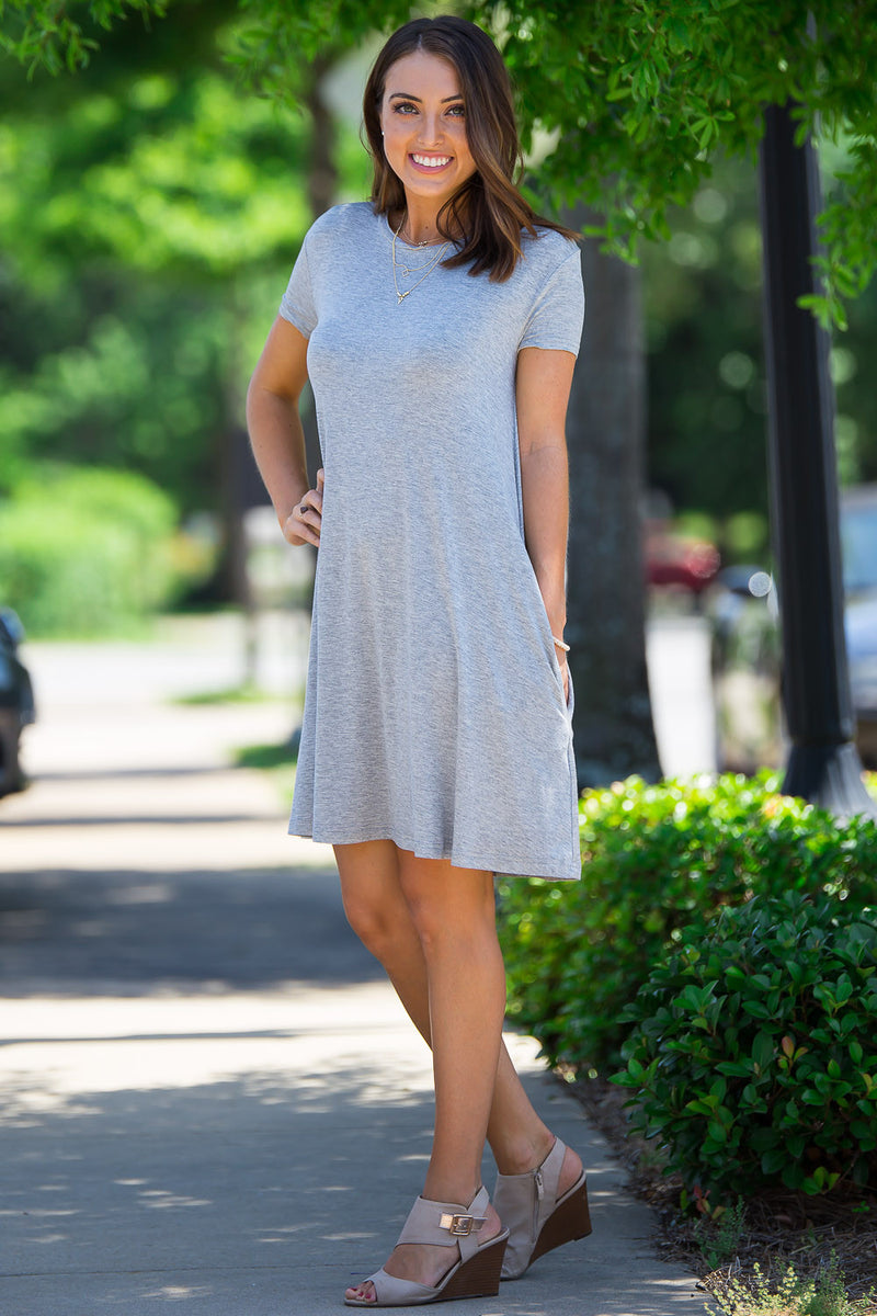 The Perfect Piko Short Sleeve Swing Dress-Heather Grey