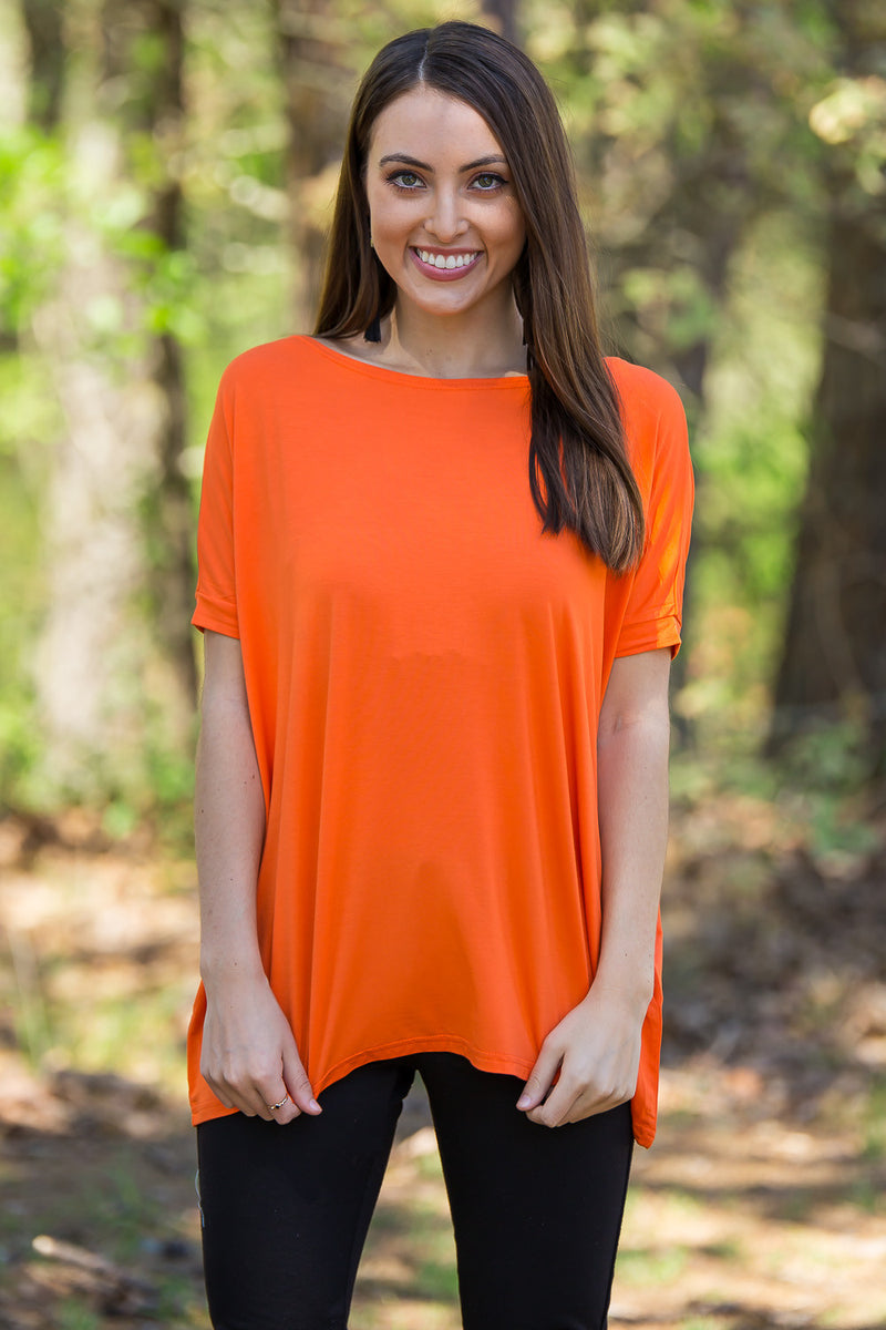 The Perfect Piko Short Sleeve Top-Flame