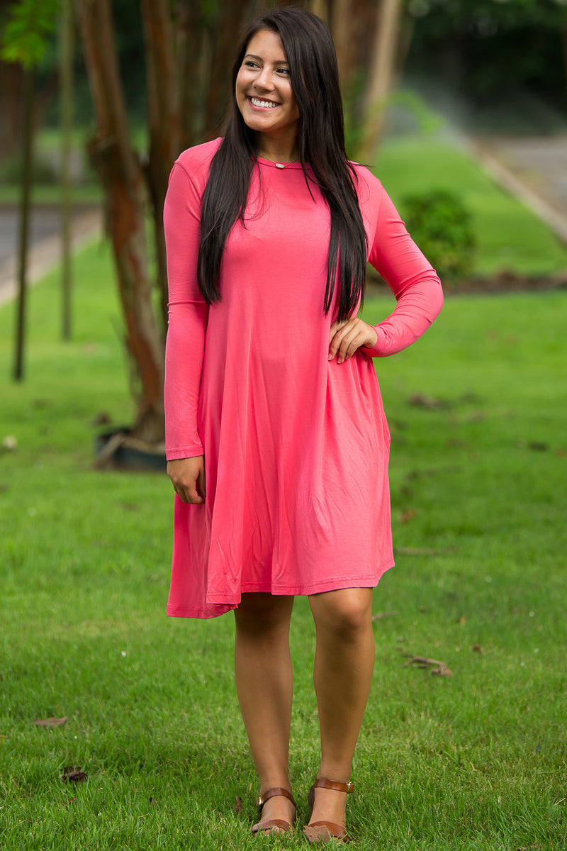 The Perfect Piko Long Sleeve Swing Dress-Coral