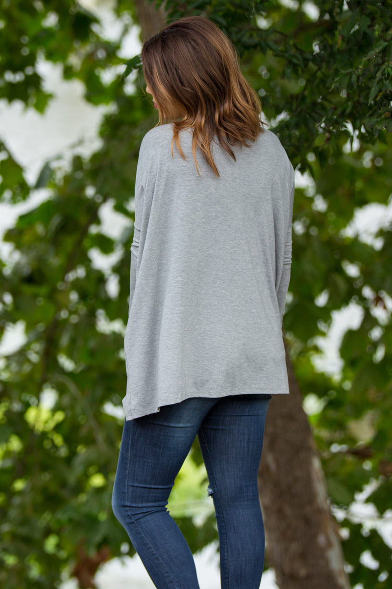 The Perfect Piko Top-Heather Grey