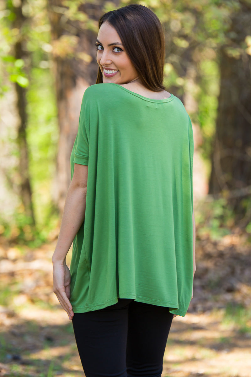 The Perfect Piko Short Sleeve Top-Kale