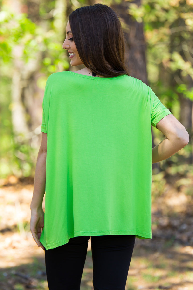 The Perfect Piko Short Sleeve Top-Greenery