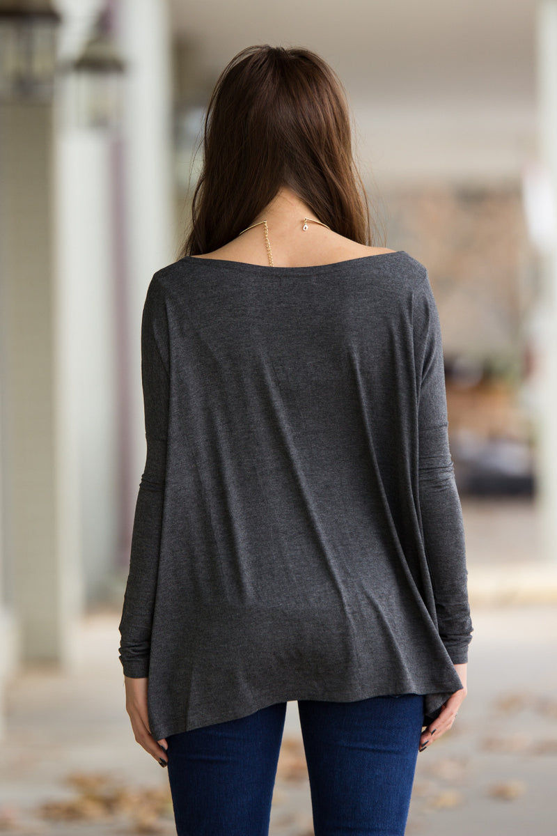 The Perfect Piko Top-Dark Heather Grey