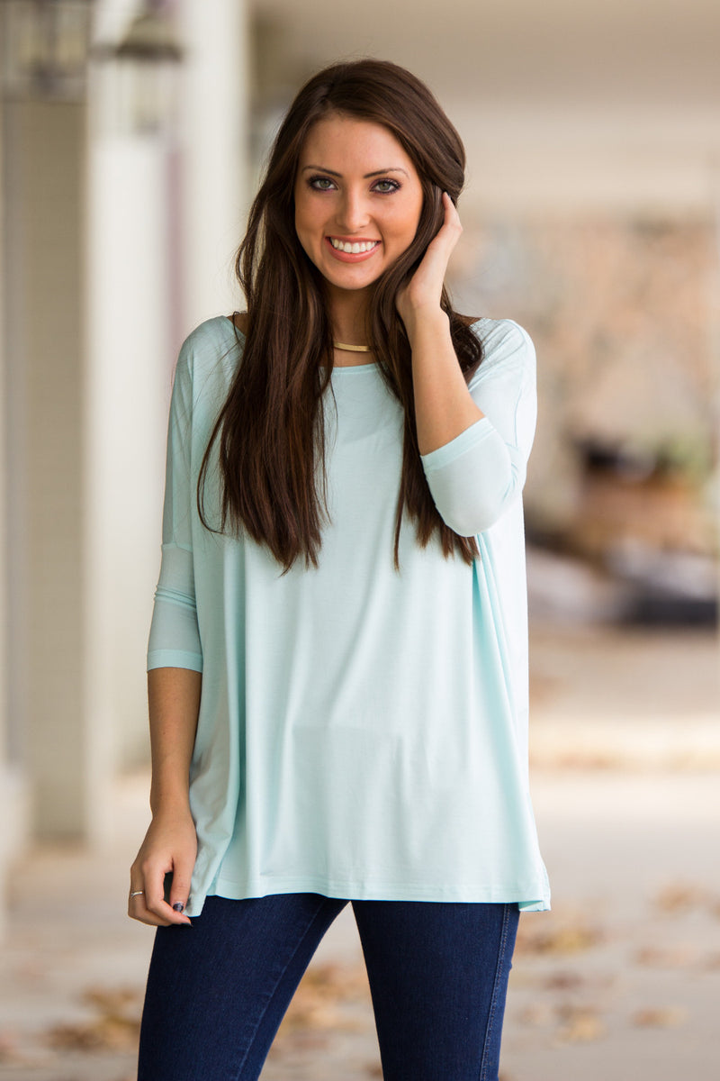 The Perfect Piko 3/4 Sleeve Top-Mint