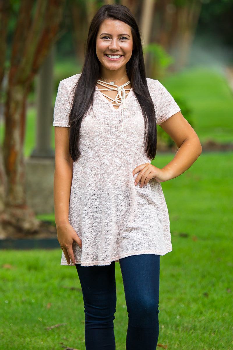 Piko Lace Up Cotton Blend Tunic-Blush
