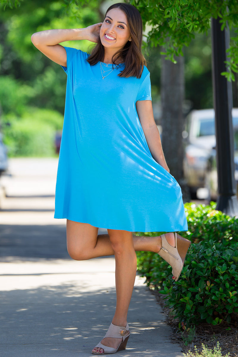 The Perfect Piko Short Sleeve Swing Dress-Bright Blue