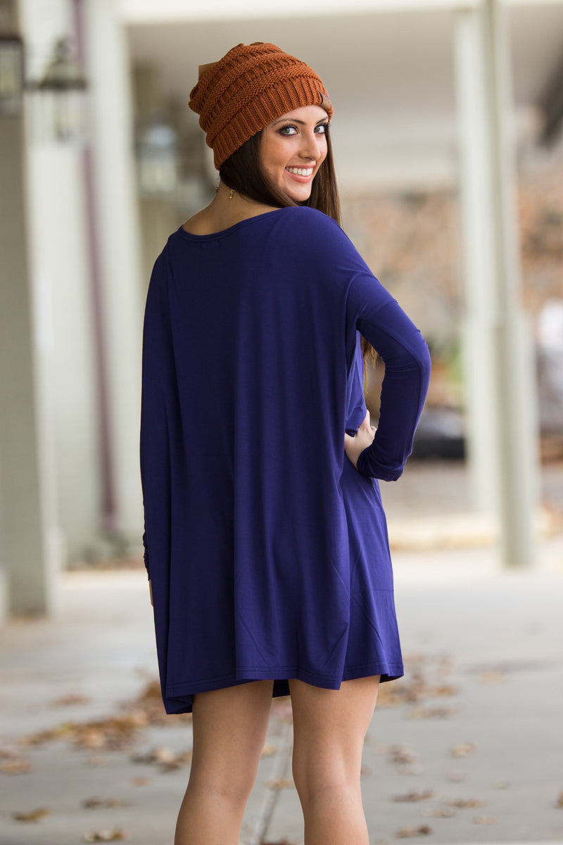 The Perfect Piko Tunic Top-Blue