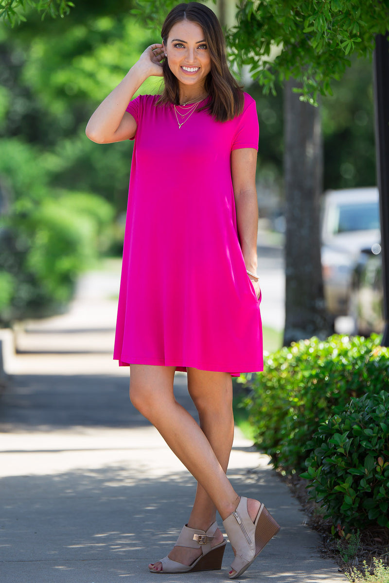 The Perfect Piko Short Sleeve Swing Dress-Fuchsia