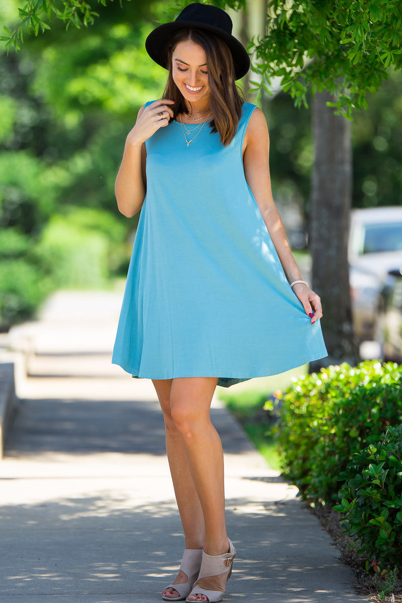 The Perfect Piko Sleeveless Swing Dress-Light Teal