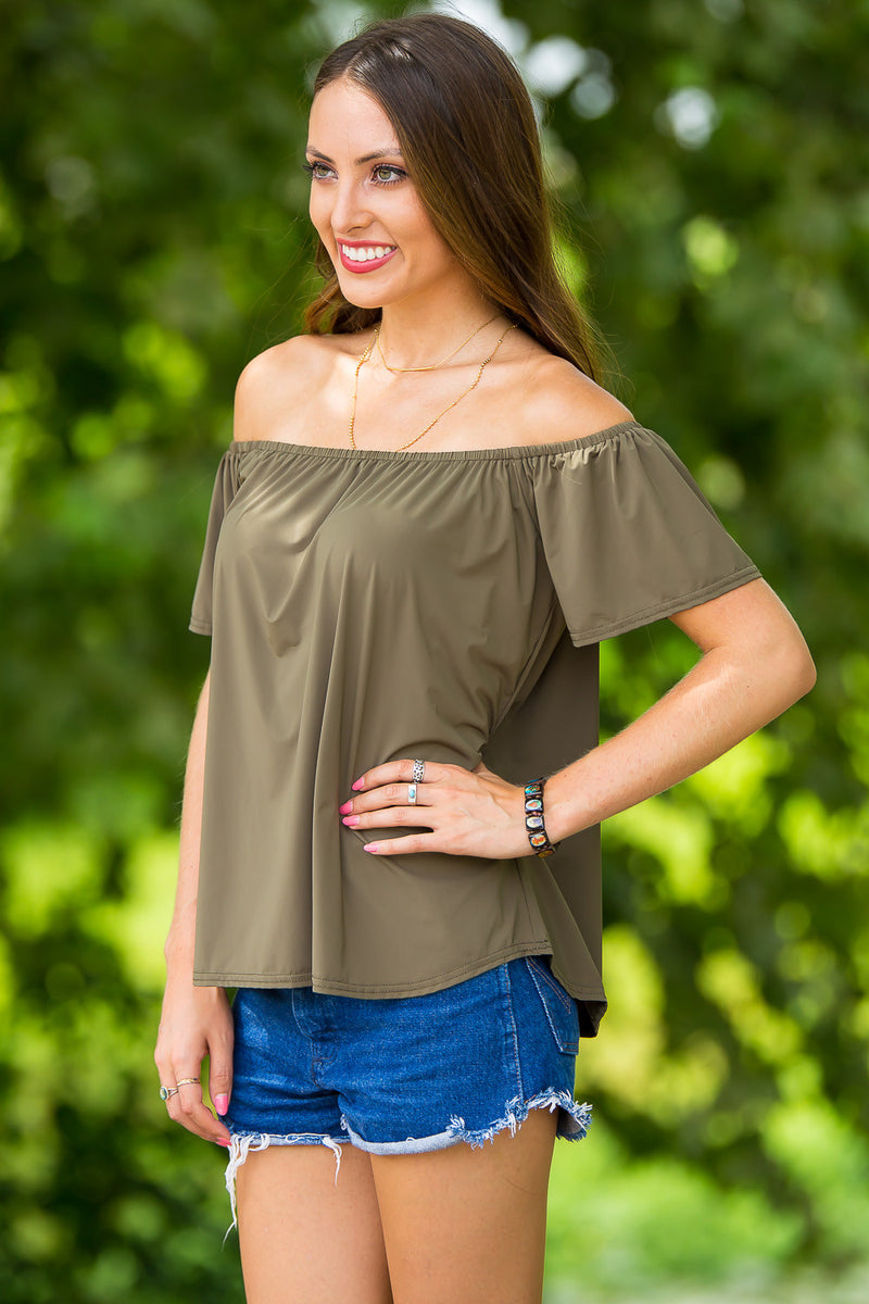 Piko-Off The Shoulder Jersey Top-Olive