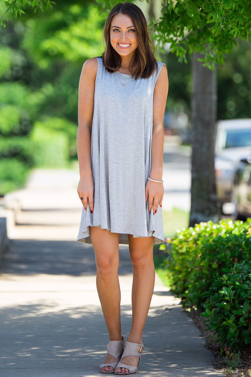 The Perfect Piko Sleeveless Swing Dress-Heather Grey
