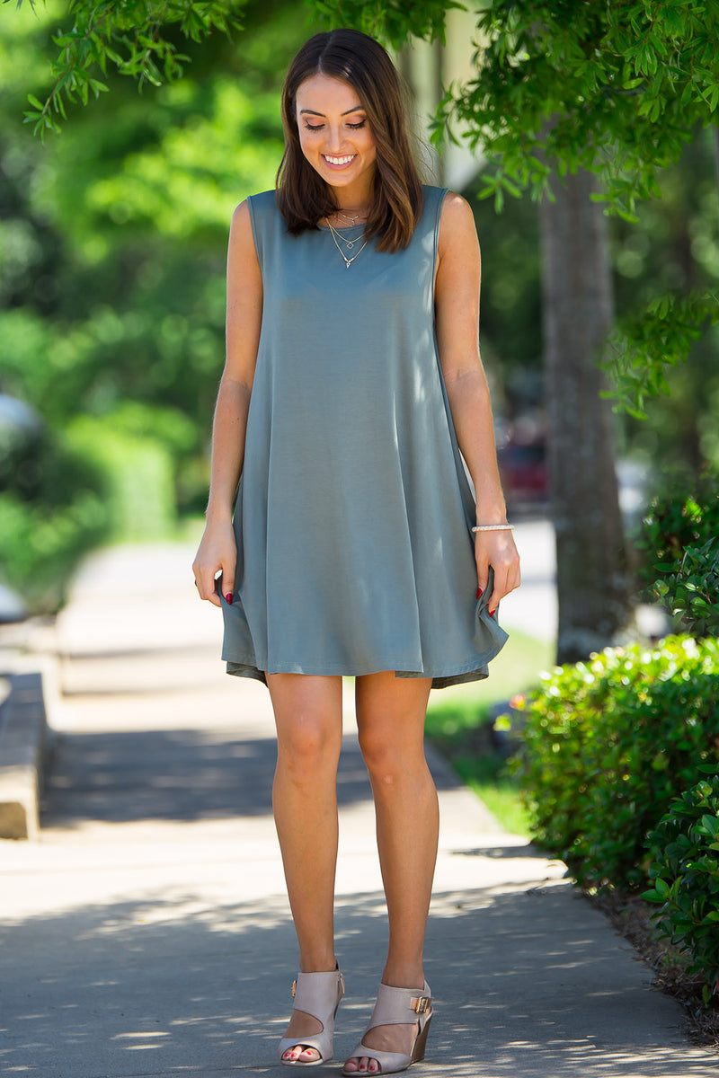 The Perfect Piko Sleeveless Swing Dress-Olive