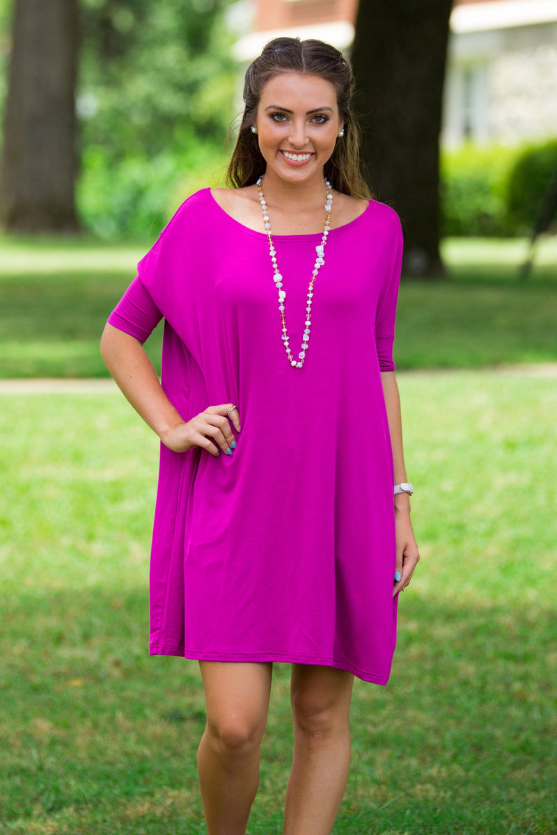 The Perfect Piko Half Sleeve Tunic-Orchid
