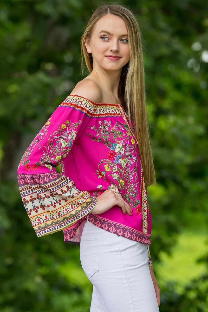 Mix Your Patterns Top-Fuchsia