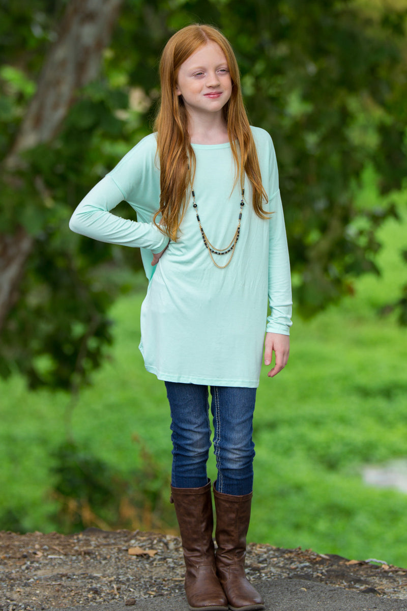 The Perfect Kids Long Sleeve Piko Top-Mint