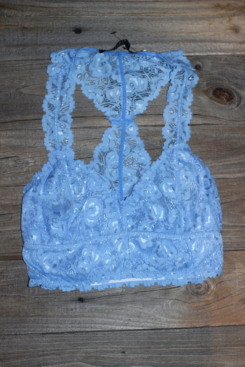 Signature 8-Lace Bralette-Dusty Blue