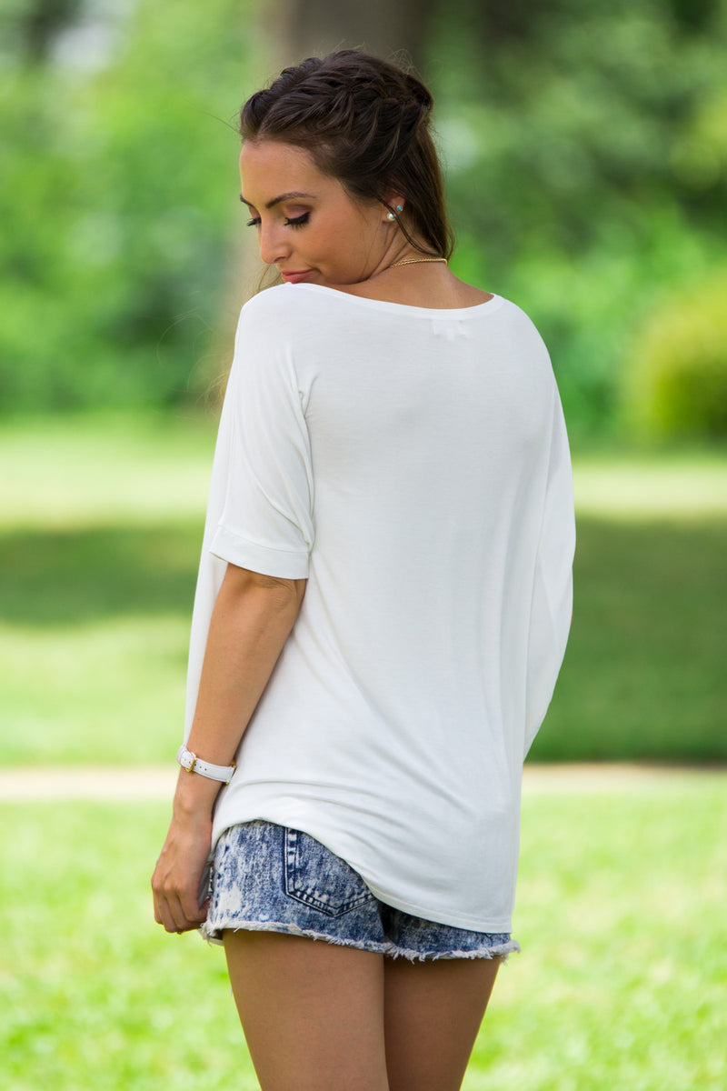 The Perfect Piko Short Sleeve Top-Off White