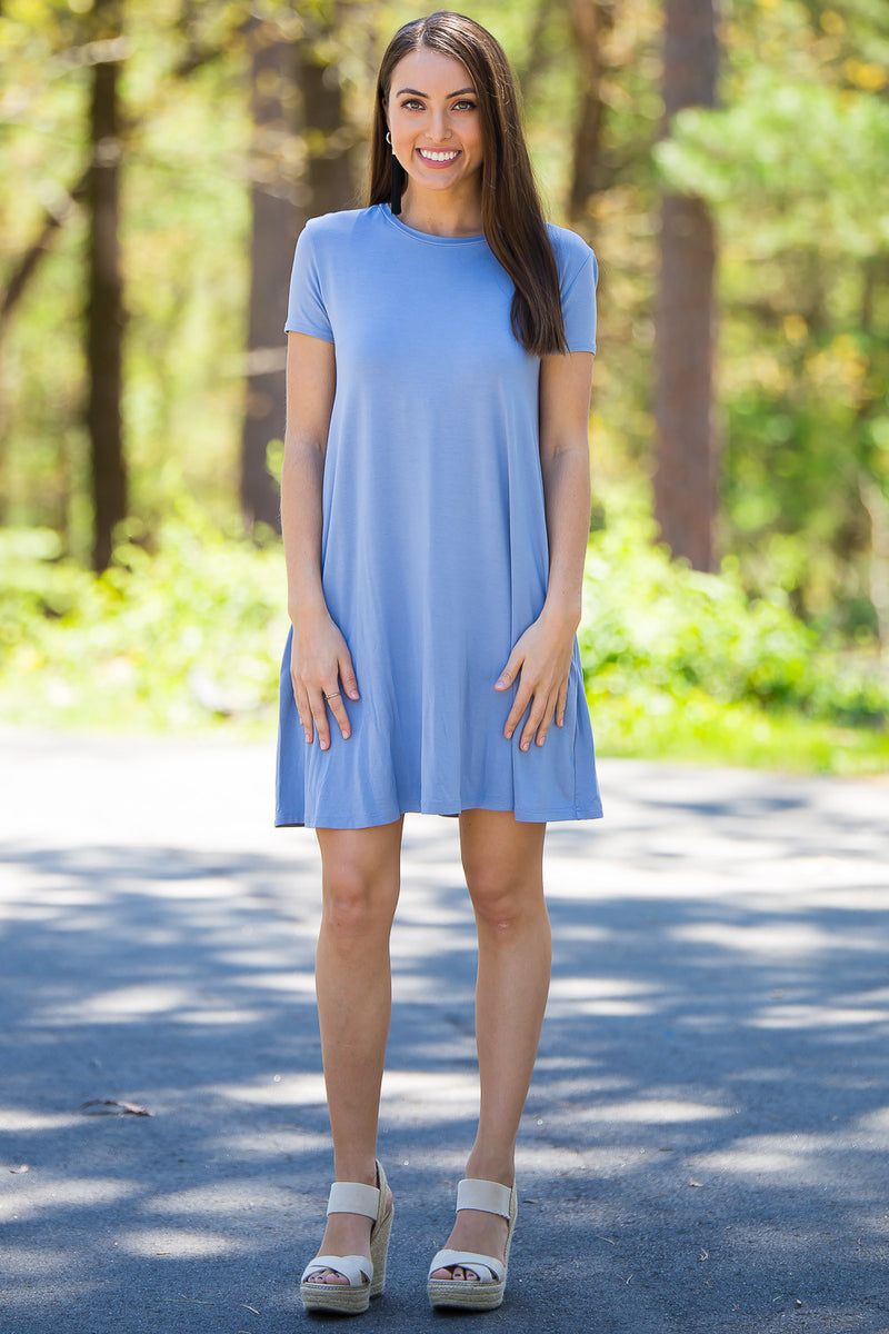 The Perfect Piko Short Sleeve Swing Dress-Serenity