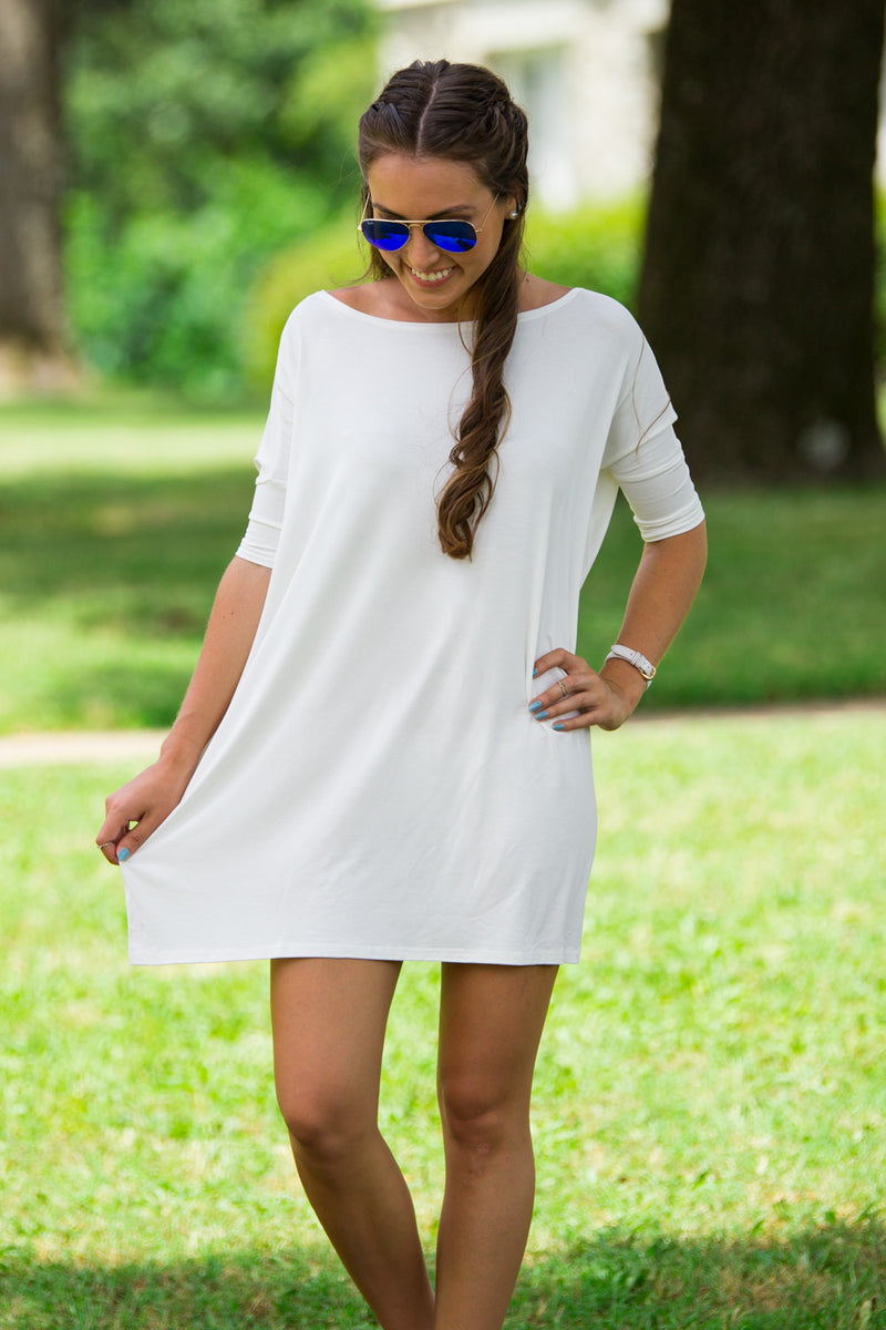 The Perfect Piko Half Sleeve Tunic-Off White