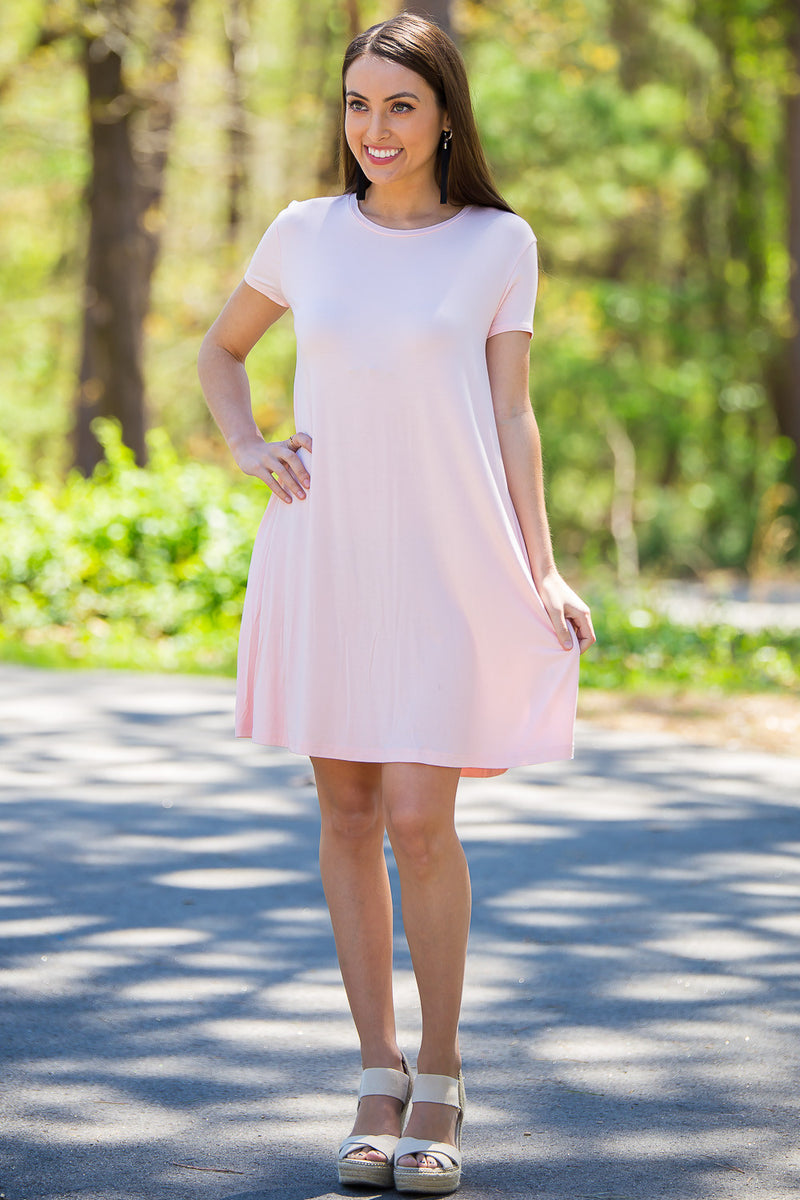 The Perfect Piko Short Sleeve Swing Dress-Light Peach