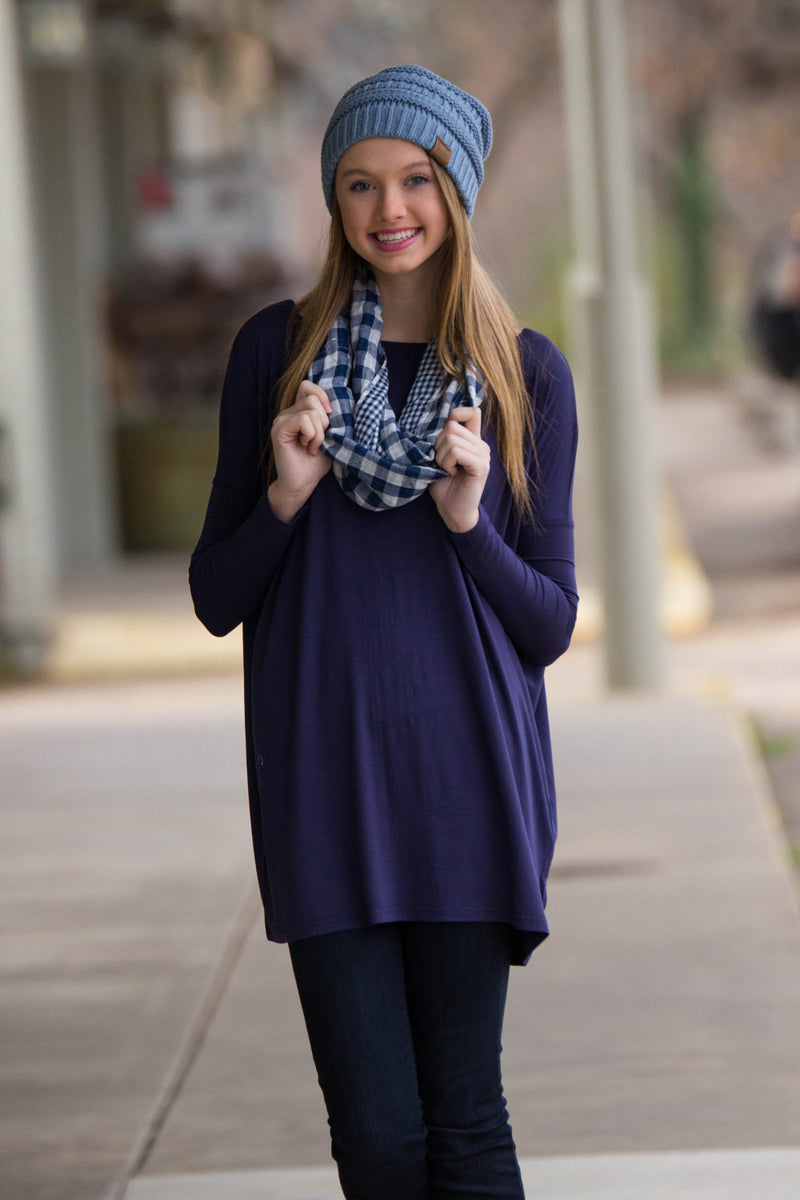 The Perfect Piko Tunic Top-Dark Blue