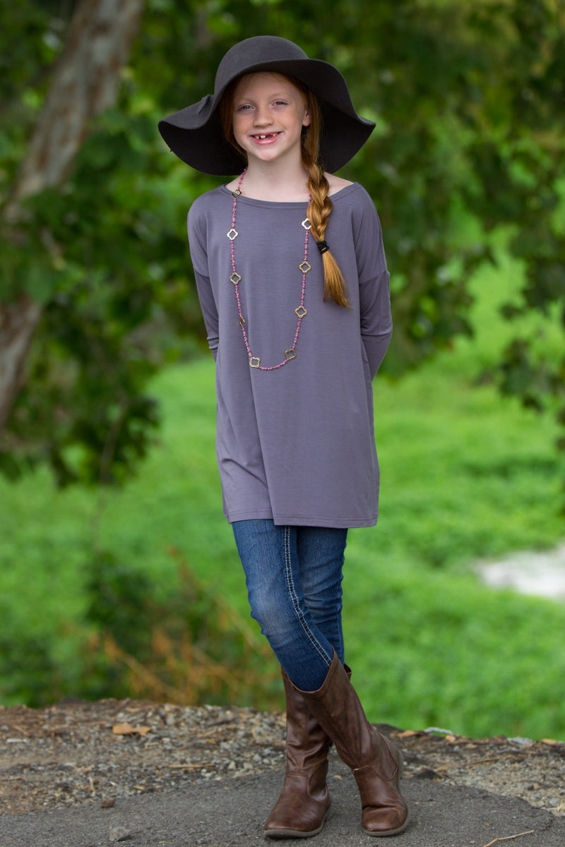 The Perfect Kids Long Sleeve Piko Top-Charcoal Grey
