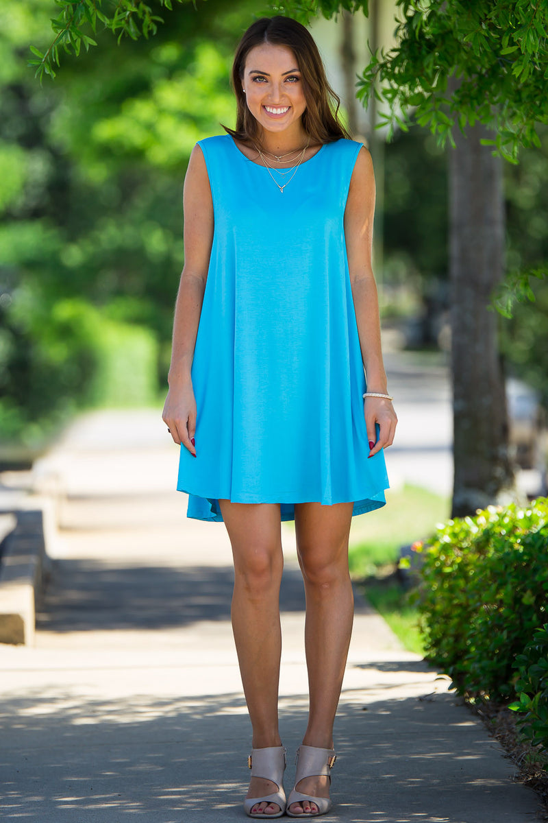 The Perfect Piko Sleeveless Swing Dress-Sky Blue