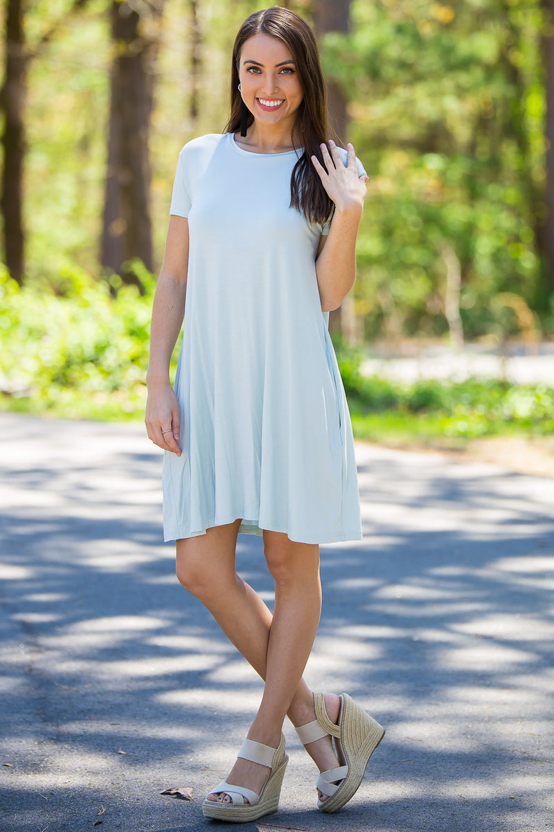 The Perfect Piko Short Sleeve Swing Dress-Quiet Mint