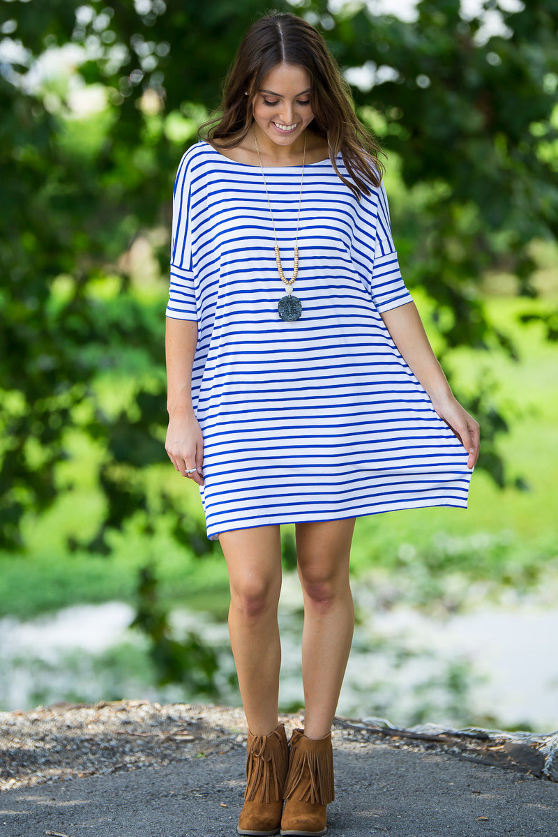 The Perfect Piko Half Sleeve Tunic-White/Royal
