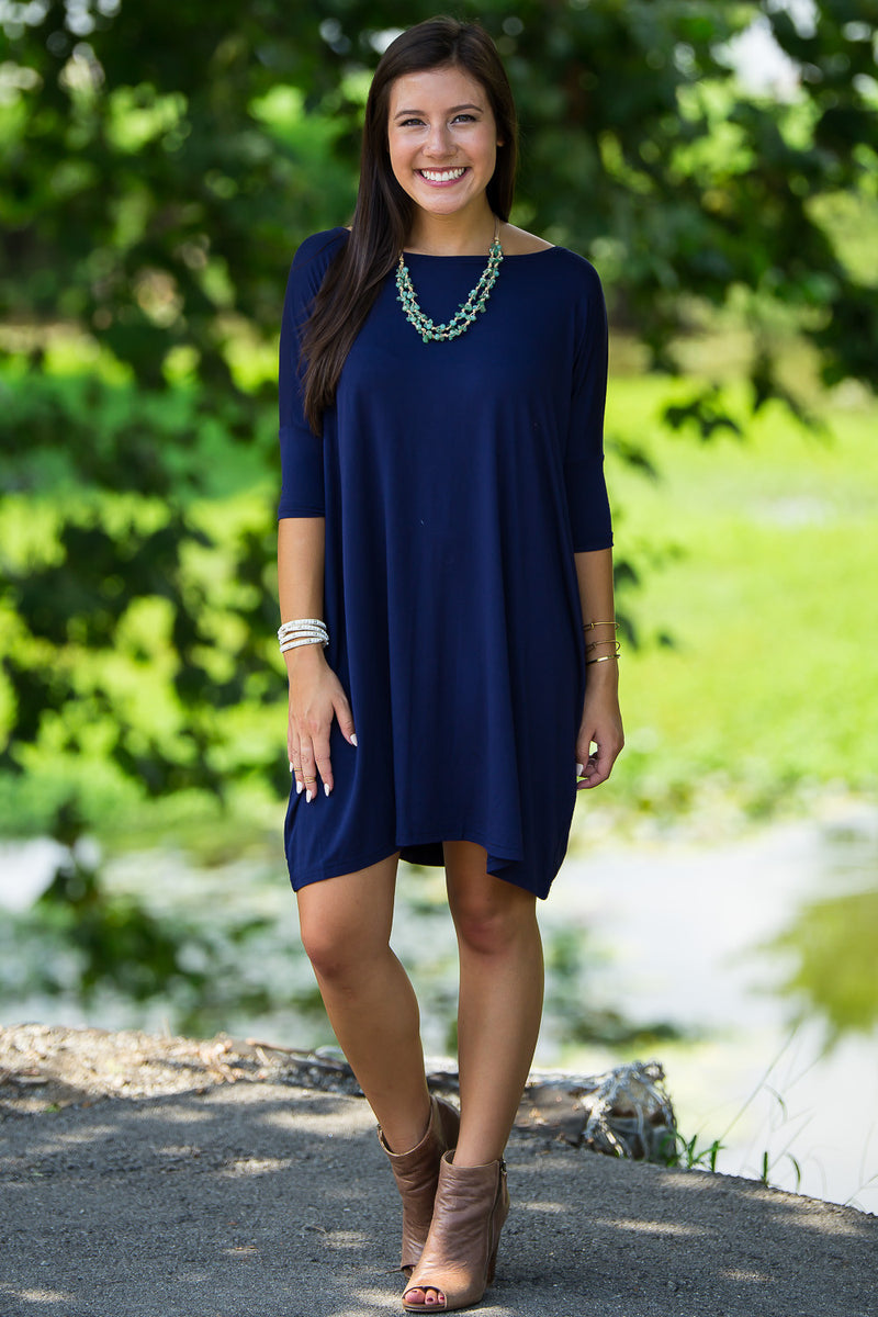 The Perfect Piko Half Sleeve Tunic-Navy