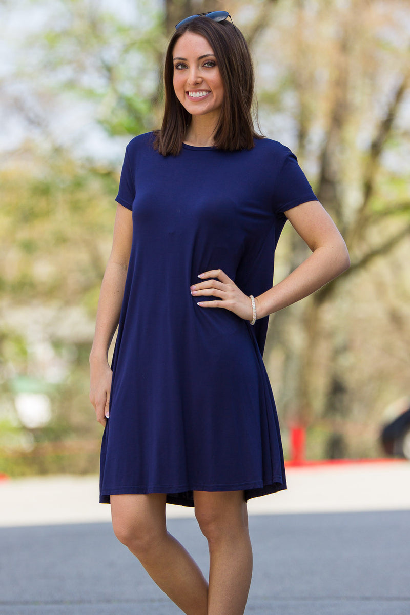 9cdddc5bacb54 Navy Short Sleeve Swing Dress - raveitsafe