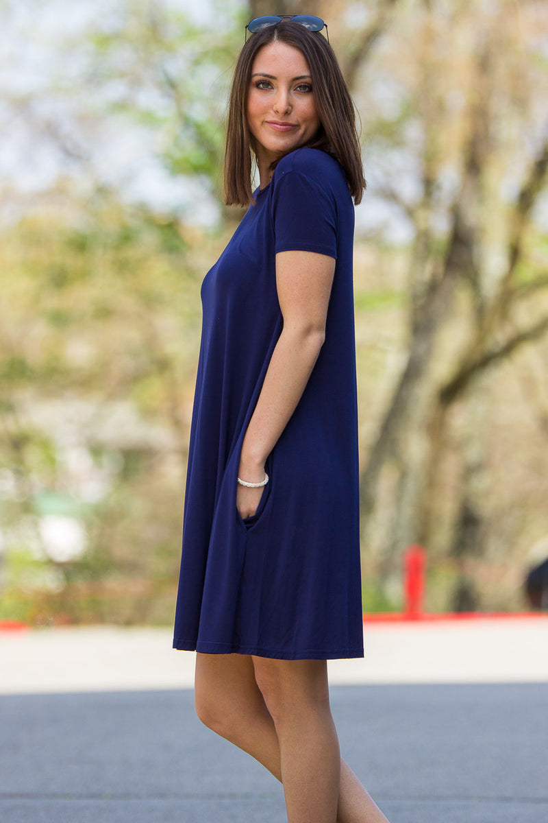 The Perfect Piko Short Sleeve Swing Dress-Navy