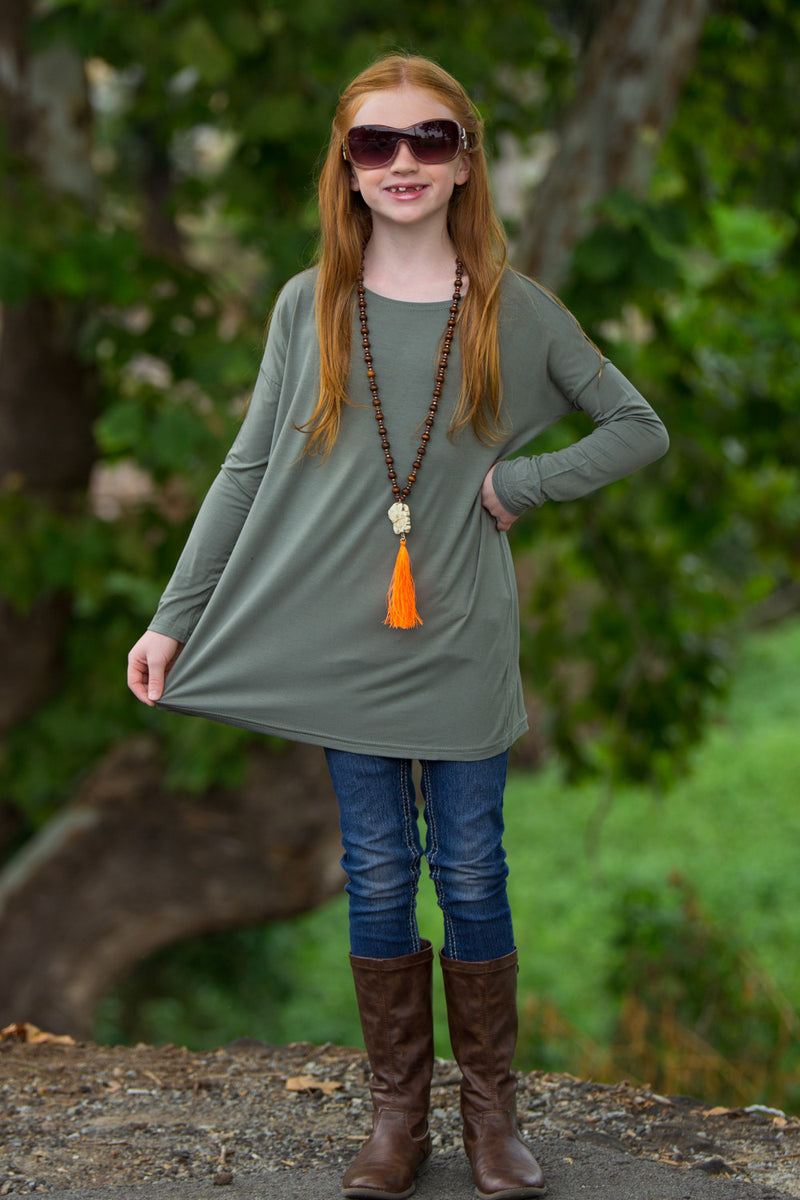The Perfect Kids Long Sleeve Piko Top-Olive