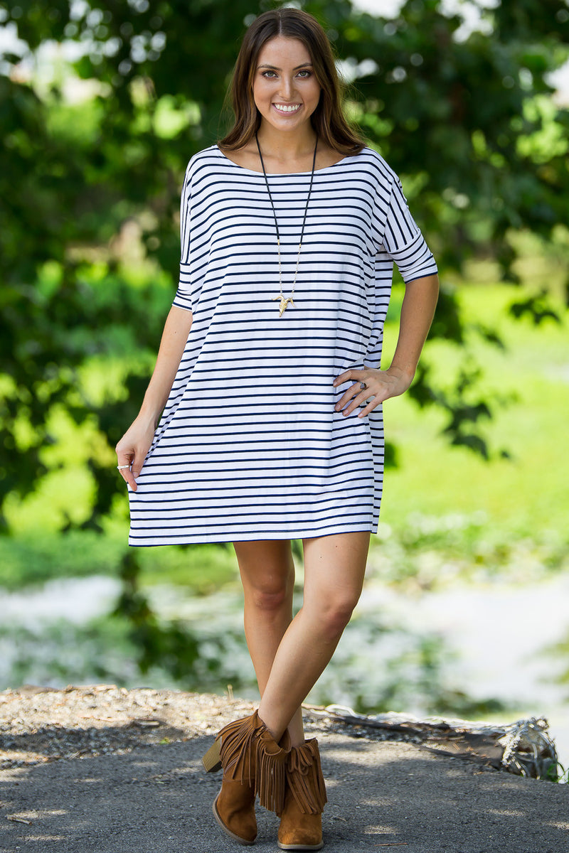 The Perfect Piko Half Sleeve Tunic-White/Navy