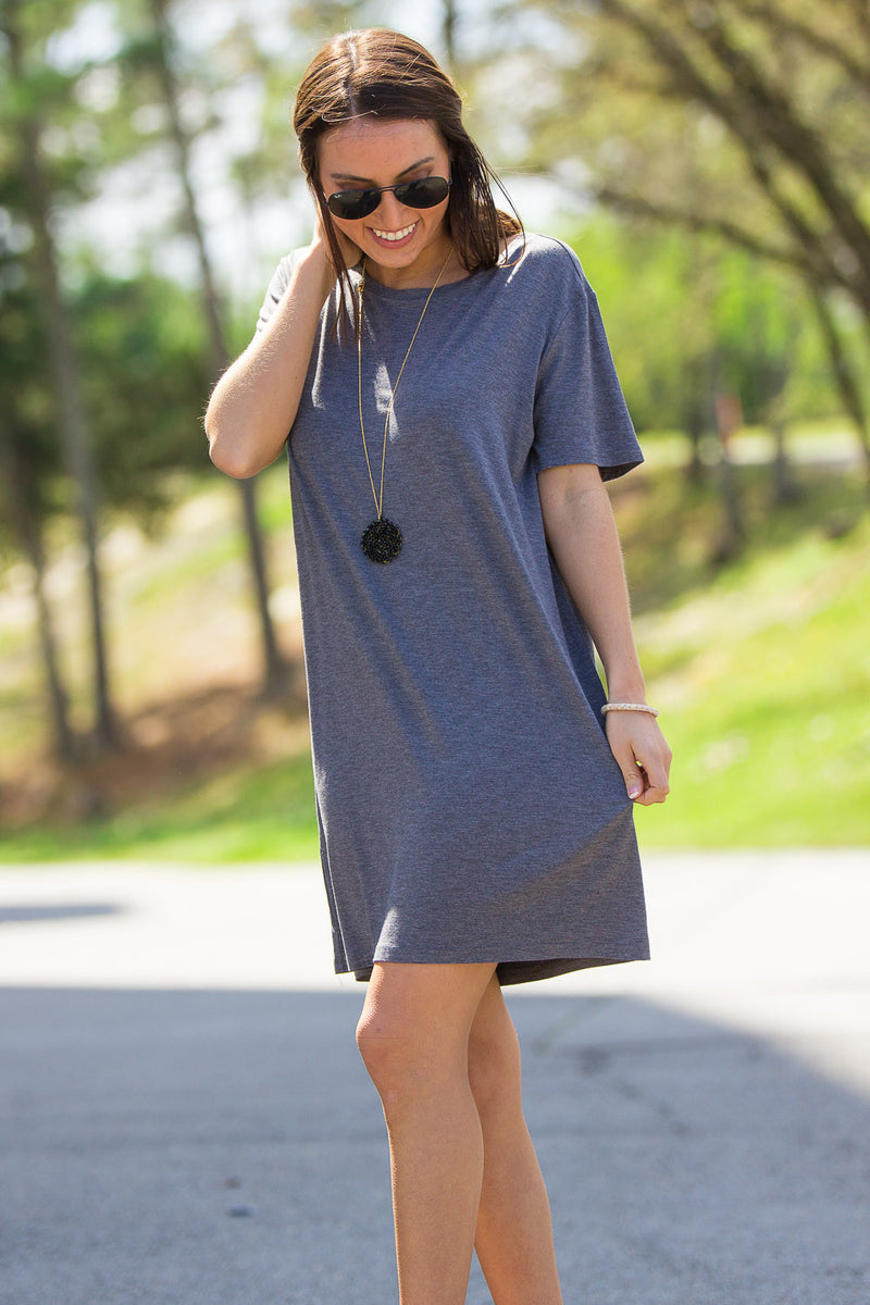 The Perfect Piko Short Sleeve Dress-Heather Grey