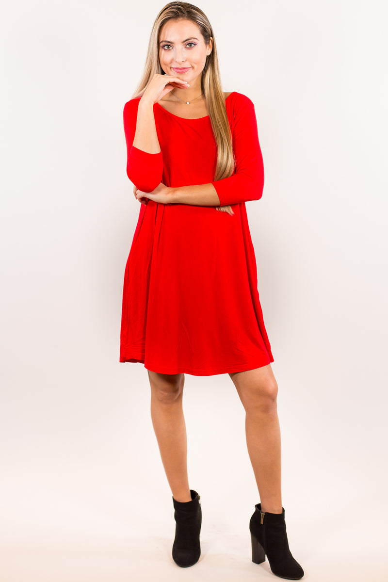 The Perfect Piko 3/4 Sleeve Swing Dress-Red