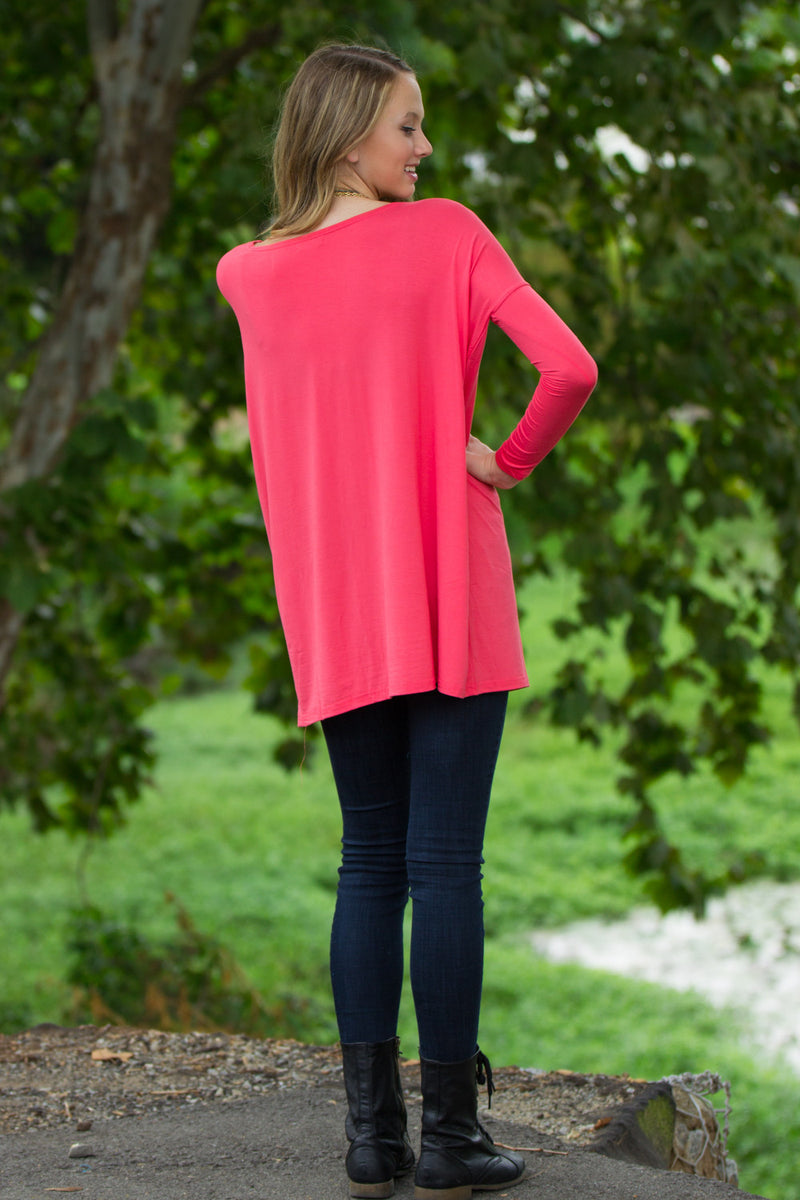 The Perfect Piko Tunic Top-Coral