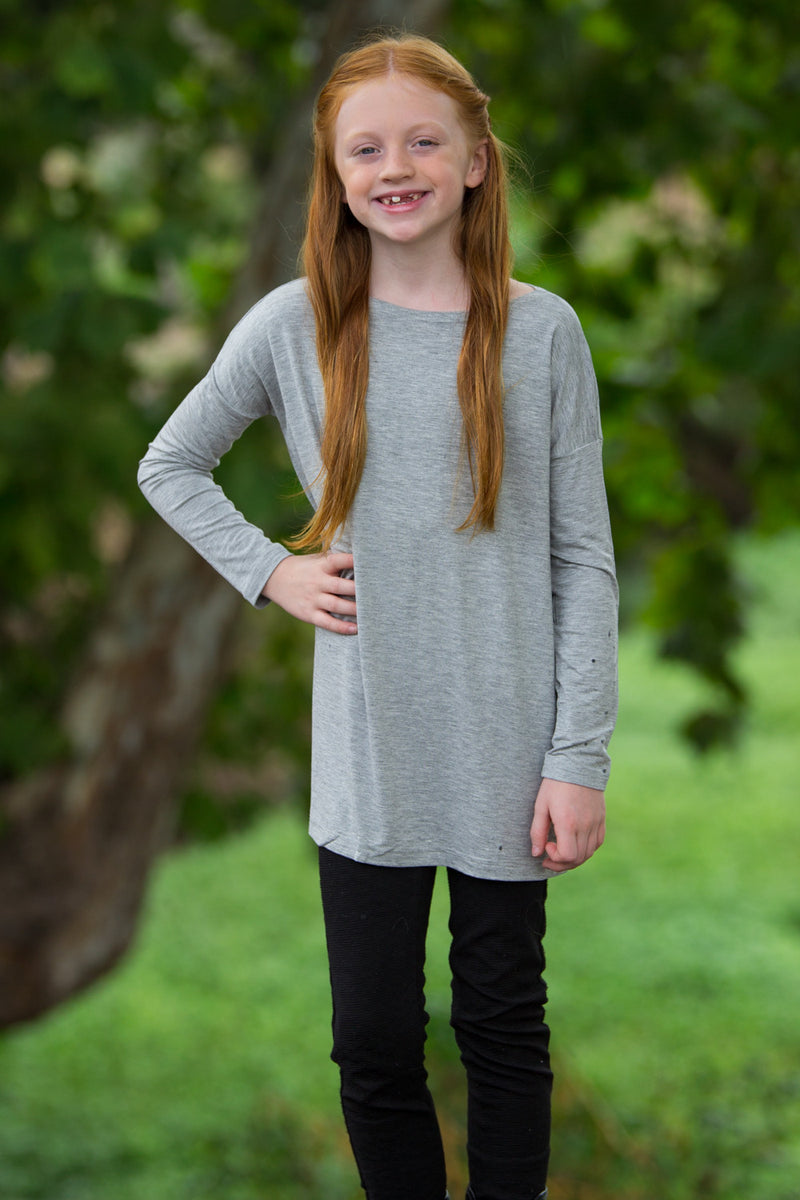 The Perfect Kids Long Sleeve Piko Top-Heather Grey