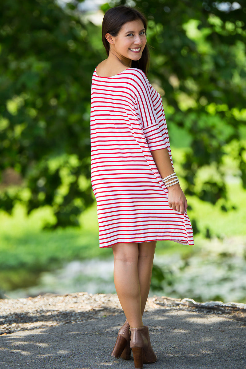 The Perfect Piko Half Sleeve Tunic-White/Red