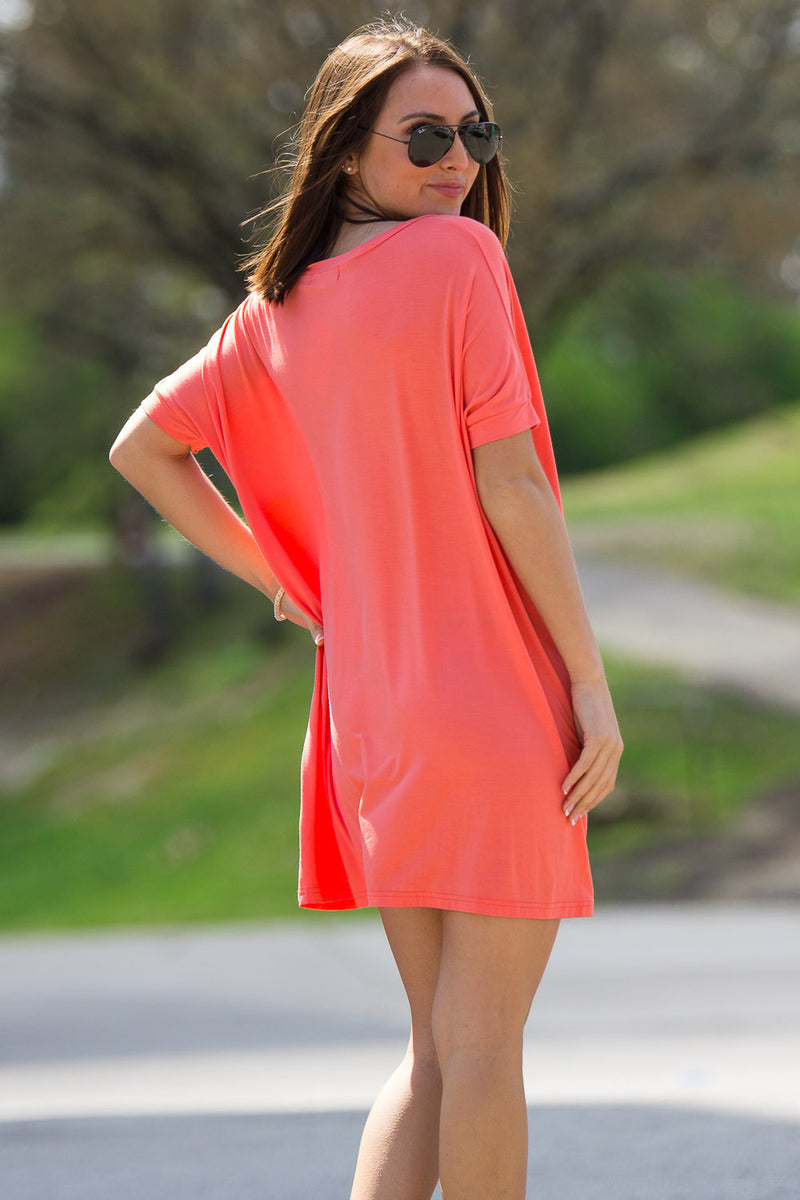 The Perfect Piko Short Sleeve V-Neck Tunic-Dark Peach