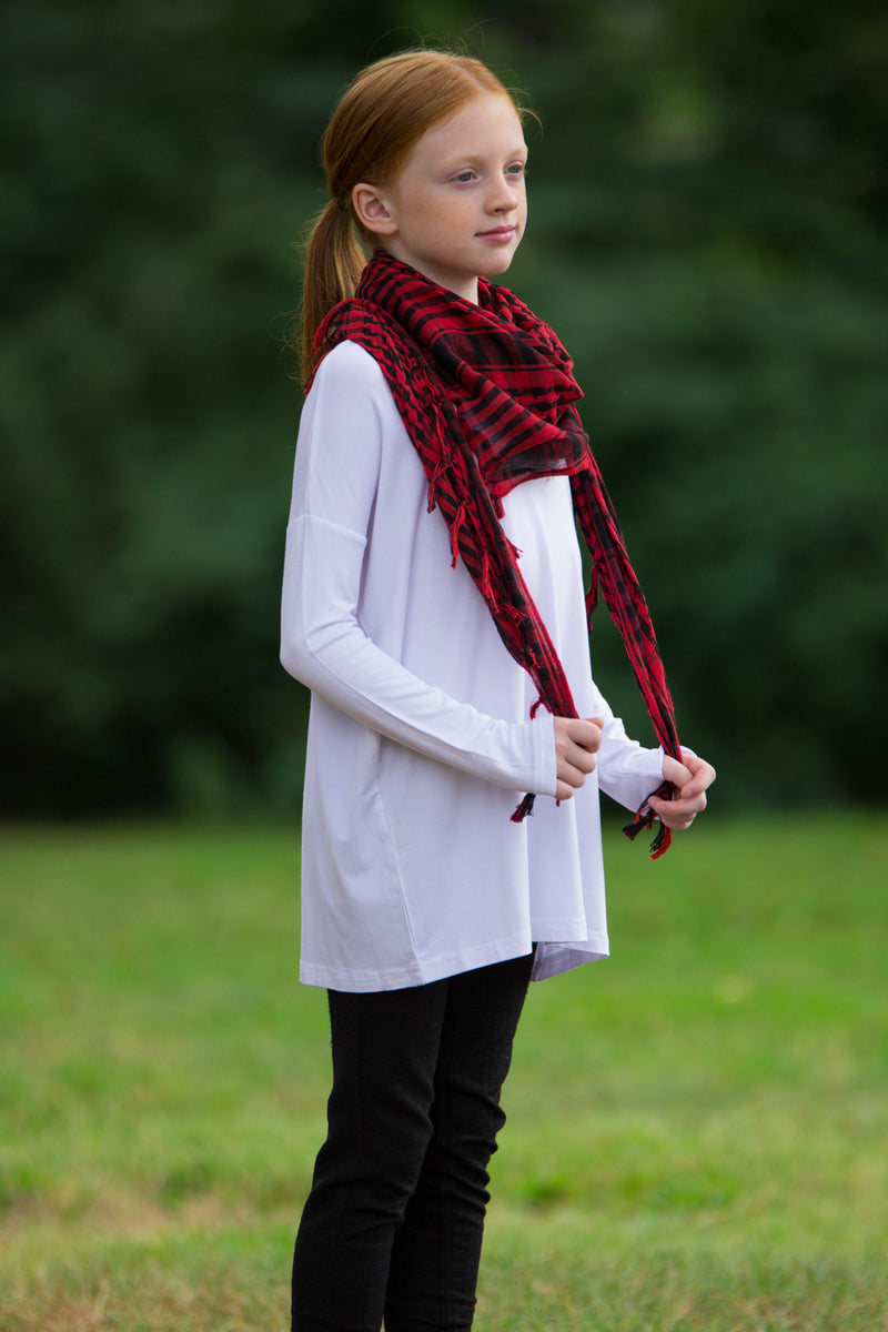 The Perfect Kids Long Sleeve Piko Top-White