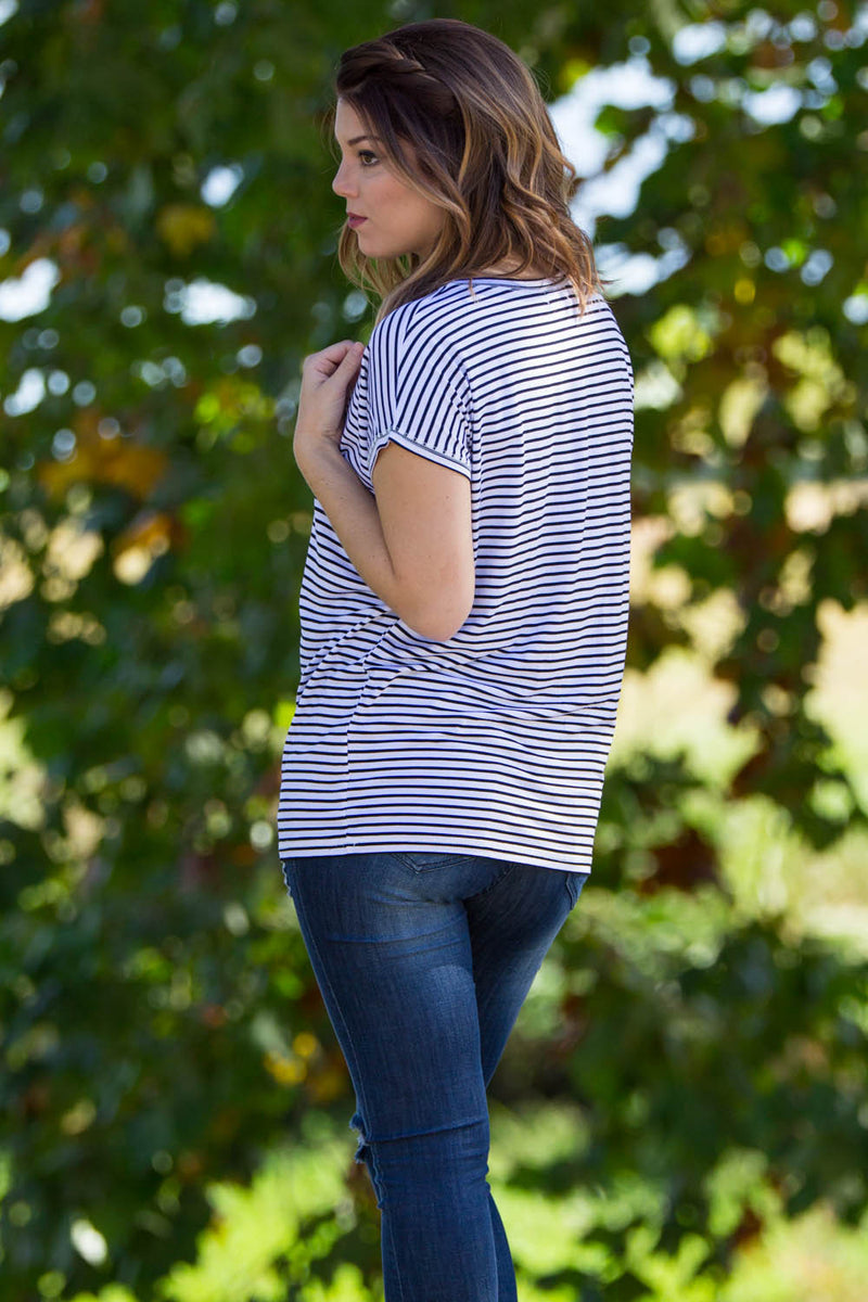 The Perfect Piko Rolled Short Sleeve Tiny Stripe Top-Black/White