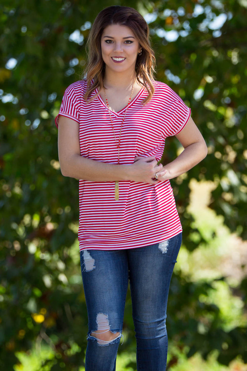 The Perfect Piko Rolled Short Sleeve Tiny Stripe V-Neck Top-Red/White